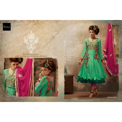 Mint green&green salwar kameez