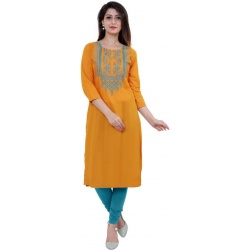 Women Embroidered Cambric Straight Kurta  (Yellow)
