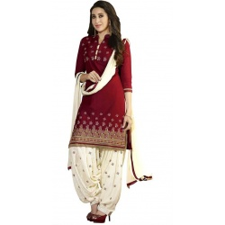 Rhythm Fabrics Cotton Blend Embroidered Salwar Suit Material  (Semi Stitched)