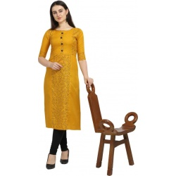 Hetvi Creation Women Printed Rayon Straight Kurta  (Yellow)