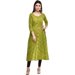 GLAM ROOTS  Women Printed Cotton Blend A-line Kurta  (Green, Yellow)