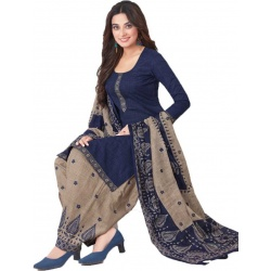 Women Shoppee Cotton Blend Printed Salwar Suit Material  (Unstitched)