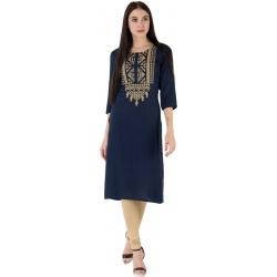 M&D Women Embroidered Pure Cotton Straight Kurta  (Dark Blue)