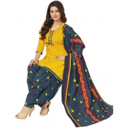 Baalar Cotton Blend Printed Salwar Suit Material  (Unstitched)