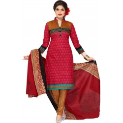 Sahari Designs Cotton Blend Printed Salwar Suit Material  (Unstitched)