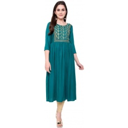 Kriska Women Embroidered Rayon A-line Kurta  (Dark Green)