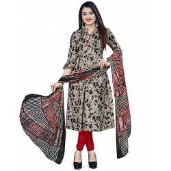 Rajnandini Women Cotton Un-Stitched Salwar Suit Material(Beige And Black)